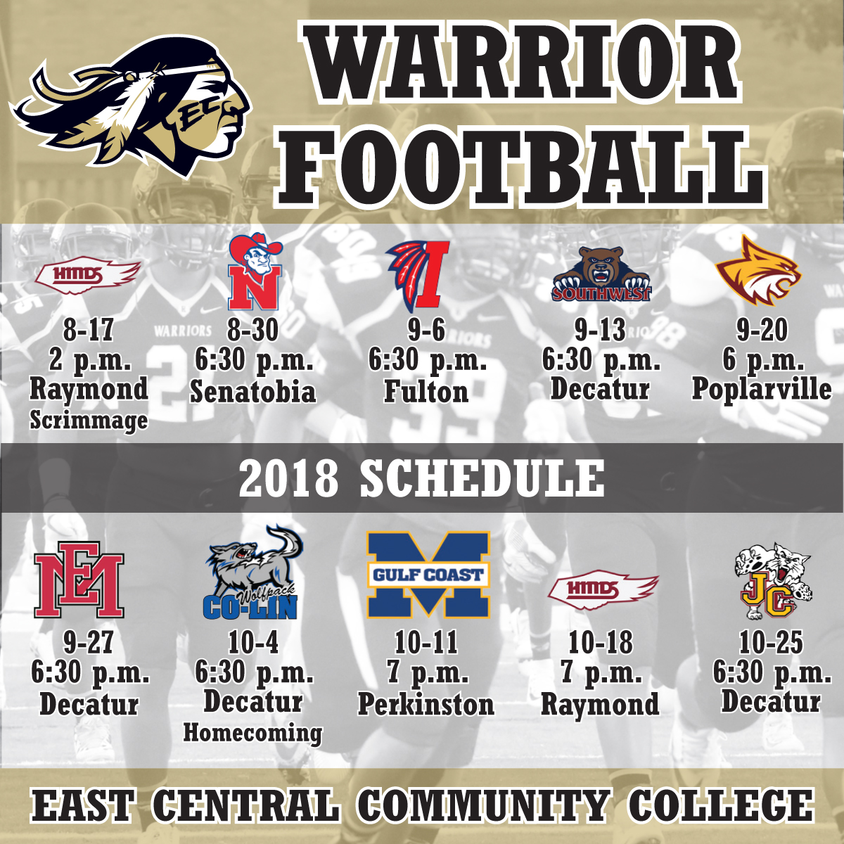 eccc announces 2018 football schedule | east central community college